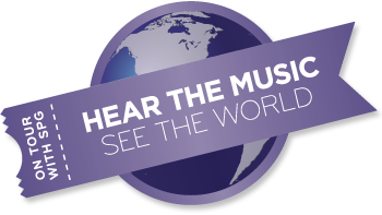 SPG Hear the music see the world logo